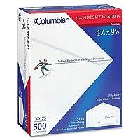 "Columbian co175ClaimフォームウィンドウEnv、24lb。、4–1/ 8"" x 9–1/ 2、"" 500/ BX、We"