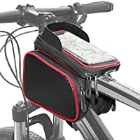自転車用 フレームバッグ サイクリングポーチ 防水タッチスクリーン用カバー付きスマートフォンケース