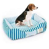 Tera ペット ベッド 犬 猫 冬 フラワーベッド クッション ソファ 洗える ふわふわ モコモコ 快適空間 かわいい ブル ストライプ ボーン柄 大中型ペット用
