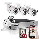 Best ZOSIカメラ - ZOSI防犯カメラセット 監視カメラ 屋外 130万画素AHD防犯カメラ4台+AHD録画対応 4CHレコーダー 防水 暗視 日本語対応 遠隔監視 HDハイビジョン HDD1TB付き Review