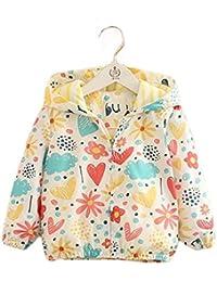 (フッカツ)女の子 長袖 花柄 ジップアップパーカー 子供服 ラッシュガード ウィンドブレーカー キッズ ベビー 春 アウター ブルゾン ジャケット ジャンパー フード付き