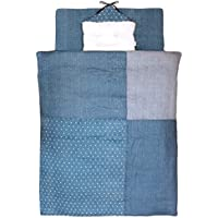 白井産業 日本製 ベビー布団10点セット デニムガーゼ ブルー