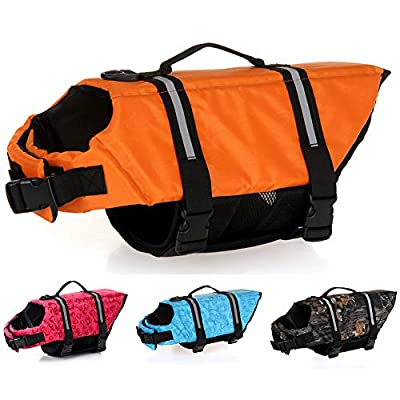 Dog Life Jackets Pet Safety Swimsuit Floatation Life Vest Preserver - Durable Grab Handle Adjustable Belt with Reflective Strips - Pool/Beach/Boating for 3-40KG Dogs