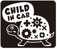 imoninn CHILD in car ステッカー 【マグネットタイプ】 No.53 カメさん (黒色)