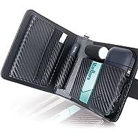 BLUE SINCERE アイコスケース 手帳型 2本収納 iQOS CASE 2.4Plus 対応 予備ホルダー カード 小銭 収納可能 メンズ レディース (カーボンレザー ブラック) IC1cb