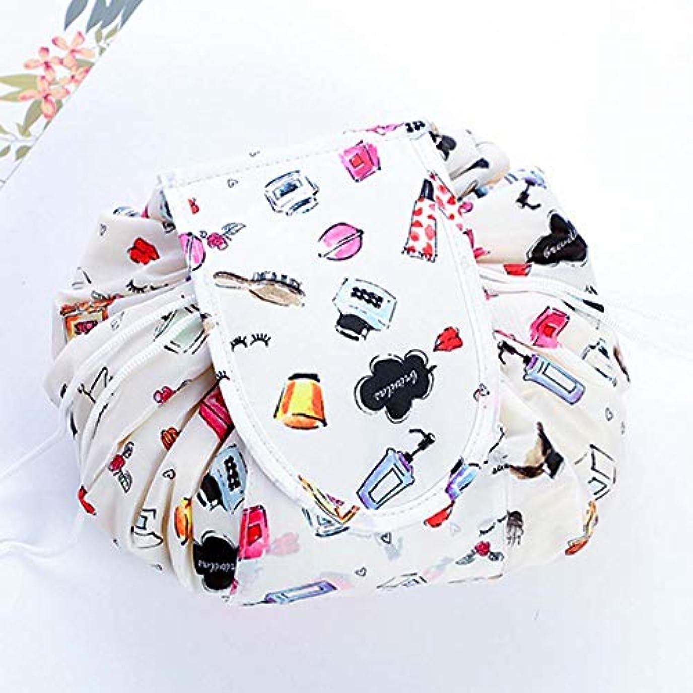 地上のストライクデザイナーLORAER Qianer 化粧バッグ 化粧ポーチ マジックポーチ 巾着型 丸型 メイクバッグ 風呂敷 レディース 防水 大容量 折り畳み コンパクト 超軽量 収納携帯用 便利 出張 旅行 人気 おしゃれ 可愛い(H06)