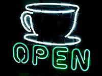 """コーヒーShop Open Neon Sign Store Display Beer Bar Sign Realネオン17"""" × 14"""""""
