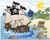 JP London MD4A152 10.5-Feet Wide by 8.5-Feet High Pirates Kids Caribbean Cartoon Removable Full Wall Mural by JP London