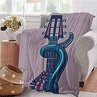 タコの頑丈なまたは耐久性のあるキャンプブランケット海の動物ギターリフ楽器ロックンロールモダンアートワークプリント暖かくて洗えるライラックブルー 120X150