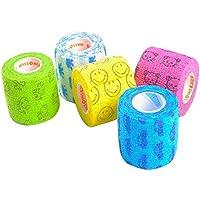 Edostree ペットフレックス 粘着包帯 バンテージ ペット 犬 猫 伸縮 防水 不織布 5点セット 5.0cm*4.5m CWBD-01