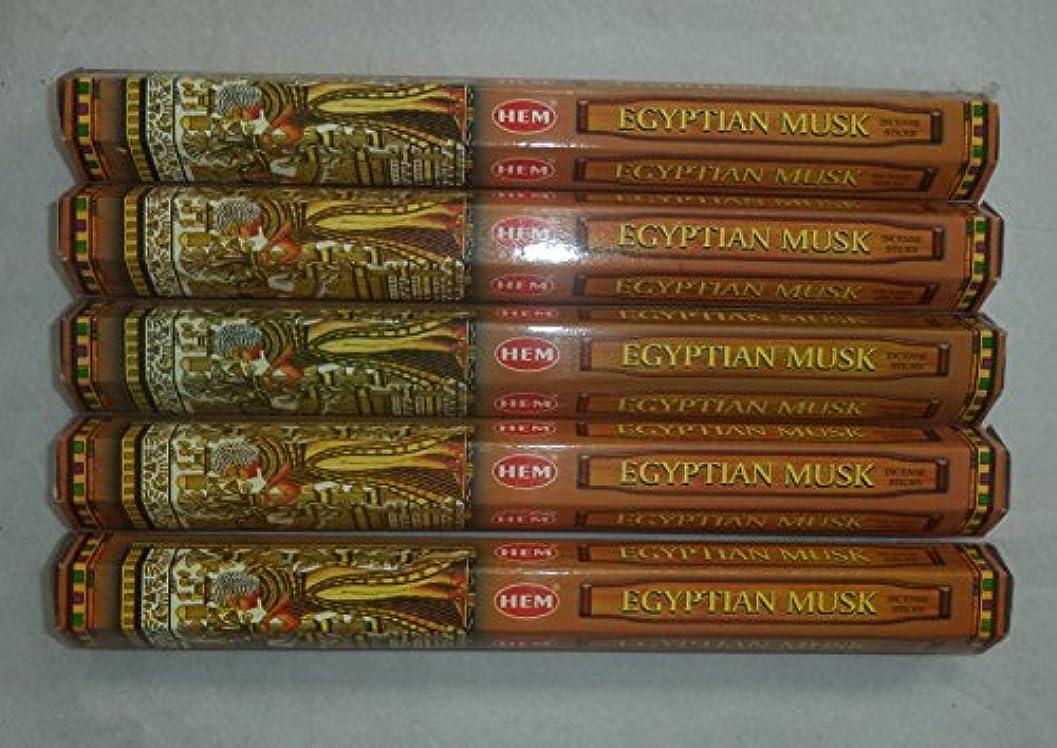 才能のある次魚Hem Egyptian Musk Incense Sticks 5六角チューブ、合計100 Sticks