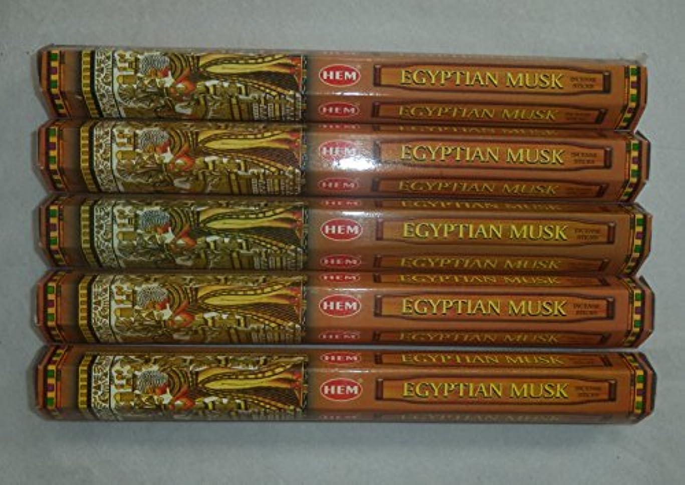 トロイの木馬どこにでも娘Hem Egyptian Musk Incense Sticks 5六角チューブ、合計100 Sticks
