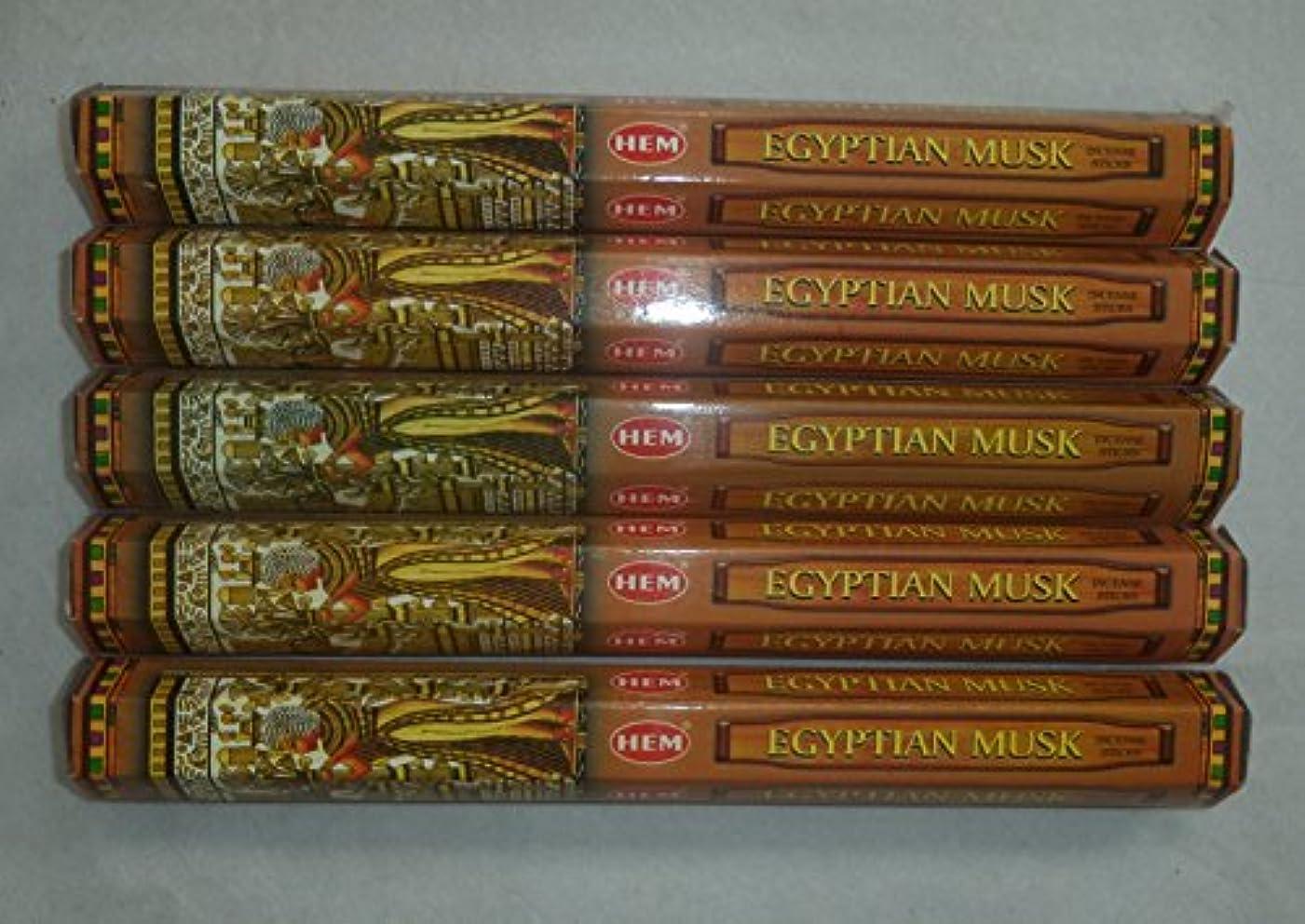 分数各組み込むHem Egyptian Musk Incense Sticks 5六角チューブ、合計100 Sticks