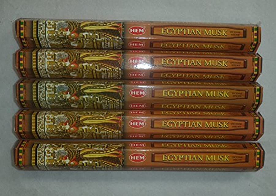 偽適合する砲兵Hem Egyptian Musk Incense Sticks 5六角チューブ、合計100 Sticks