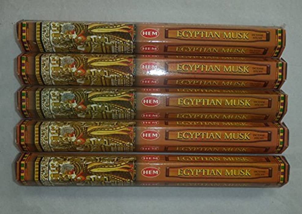 倍増たぶんコメンテーターHem Egyptian Musk Incense Sticks 5六角チューブ、合計100 Sticks
