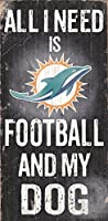 "Miami Dolphins Wood Sign – Football and Dog 6 "" x12 """
