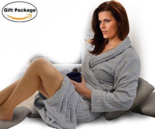Napaレディースシェルパバスローブマイクロフリーススーパーソフト暖かい着物襟Plush Thick Spa Robe Sleepwear withサイドポケット One Size B01MXBSS2J