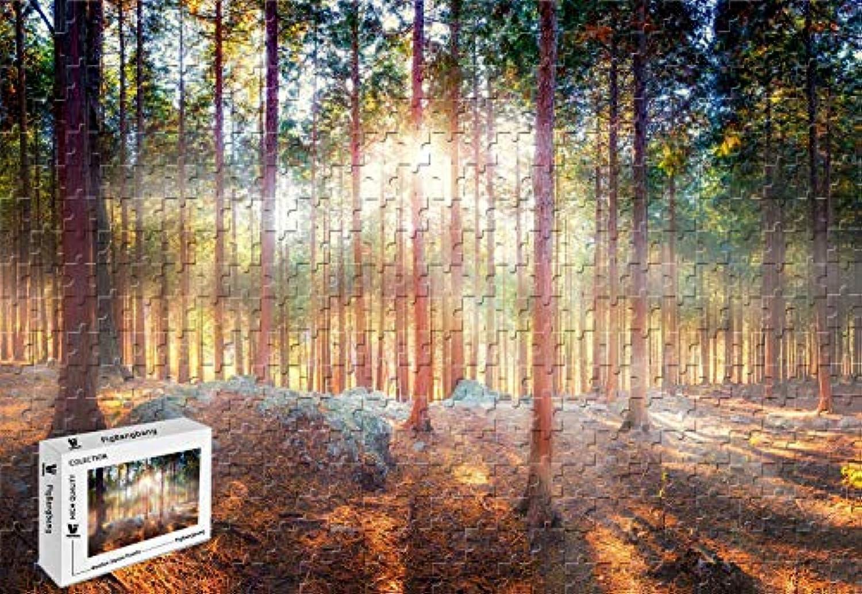 PigBangbang、29.5 X 19.6インチ、ステンドアートパズル 子供用 大人用 ジグソーグルー 木製 - 美しい自然の森の木 太陽 レイズ シャドウ - 1000ピース ジグソーパズル