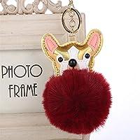Dalino ファッションとパーソナリティ PUレザー 犬 フラシ天 ボール キーチェーン ペンダント プラッシュドール キーリング キーチェーン (ワインレッド)