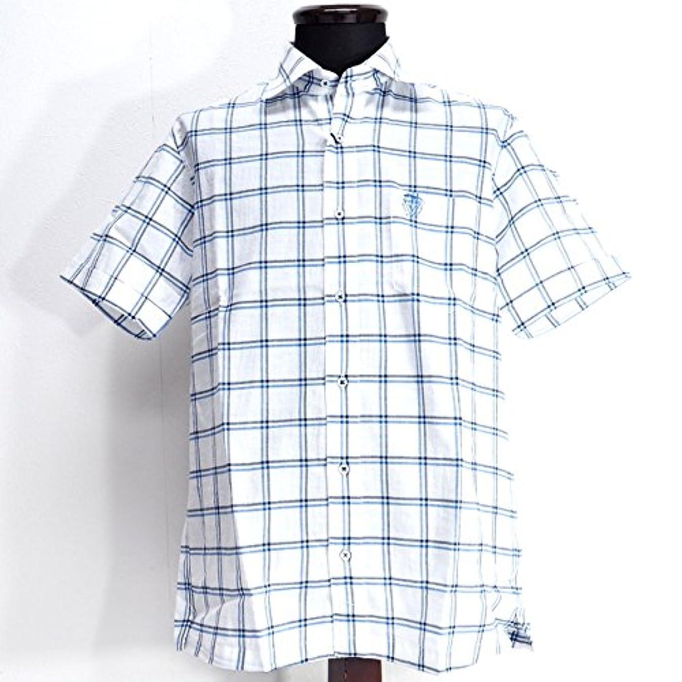 勧める固める夢30293 春夏 日本製 チェック柄 総柄 ストレッチ ワイドカラーシャツ 半袖 ホワイト(白)?ブルー(青) サイズ 48(L) Vittorio Carini 紳士服 メンズ 男性用