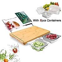 竹製まな板 5つの拡張可能なストレージコンテナセット 多機能ノンスリップ 環境に優しいまな板 肉/パン/果物用 食べ物の準備が簡単