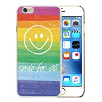 301-sanmaruichi- iPhone XS ケース iPhone X ケース ハードケース 携帯カバー おしゃれ ニコちゃん スマイル レインボー 虹 C