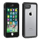 Eonfine-正規品 iPhone 7 Plus 用 防水ケース アイフォン7プラスケース 防水 防塵 耐衝撃 完全防水 防雪 耐震 落下防止 IP68 指紋認証対応 個性的 7plusカバー (透明&黒)