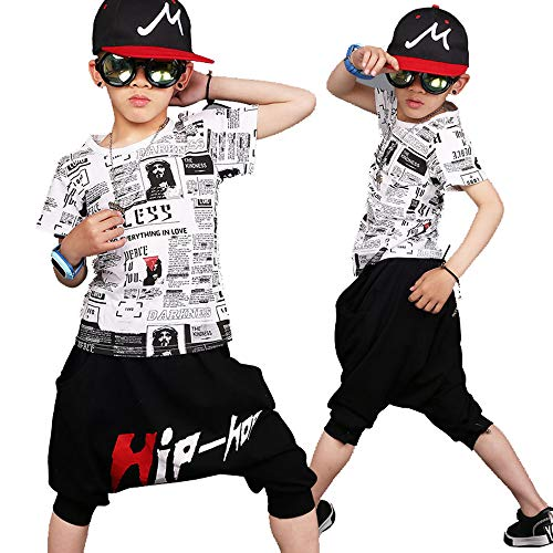 f3520e1a764fe キッズ ヒップホップ ダンス衣装 ダンスウェア 子供用 キッズ 男の子 女の子 tシャツ サルエルパンツ