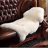 フェイクシープスキンラグ,HLZDHKJリアルぽい ふわふわ 高級感ある 無地シャギー 椅子カバー ソファシートマット リビングルームラグ ベッドルームラグ (ホワイト, 60 X 90 CM)