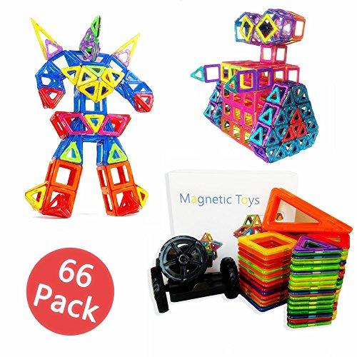 積み木 知育玩具 お祝いプレゼント子供おもちゃ 創造力と想像力を育てる 立体パズル赤ちゃんの実践能力、論理的思想を開発できる豪華磁石ブロック組立セット (66ピース)