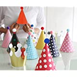 lovely Mini paper cone birthday party hats for Children ,Fun Party Hats Set for Kids Birthday New Year, Hats Set of 9 Hats and 2 Crowns