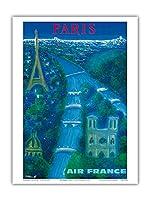 パリ - セーヌ川、エッフェル塔、ノートルダム - エアフランス - ビンテージな航空会社のポスター によって作成された ベルナール・ヴィユモ c.1963 - アートポスター - 23cm x 31cm