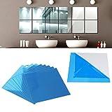 16PCSセット インテリア鏡貼 ウォールミラー 壁貼りシール 割れにくい DIY鏡 壁紙 フェザー 模様替え 鏡効果 現代芸術 浴室 化粧 北欧ウォールミラー 四角形