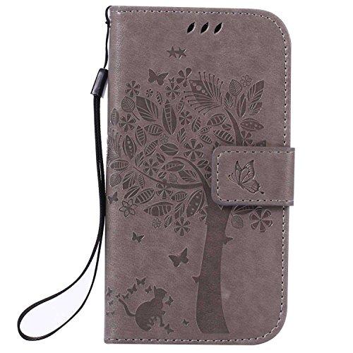 Galaxy S4 ケース CUSKING 手帳型ケース 高品質 PUレザー カードポケット全面保護 フリップ カバー 落下防止 衝撃吸収 財布型 ギャラクシ S4 対応 - グレー