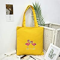 Student Tote Bag, Female Canvas Shoulder Bag School File Shopping Travel Beach Handbag Flamingo (Yellow) Polykor