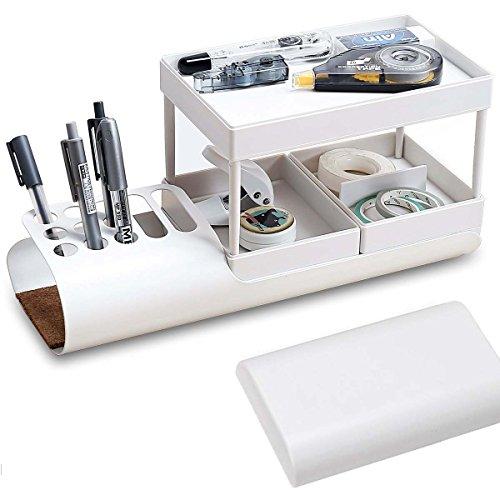 デスクオーガナイザー ペン立て 卓上収納 文具ケース 文房具 収納ボックス 小物入れ 丸角 多機能 ABS製