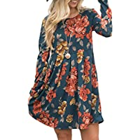 Women's Long Sleeve Pleated Midi Dress Pocket Floral Print Casual Swing Tunic Shirt Dress Legging