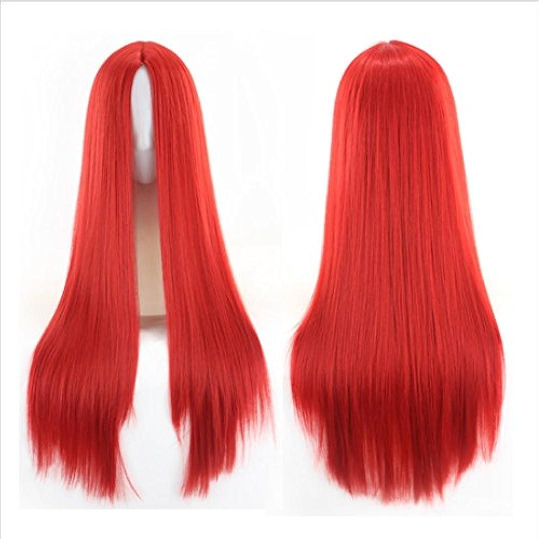 マリナー電報乗算JIANFU 人々 パーティー パフォーマンス かつら ミドルワンウィッグ 耐熱 長い ストレート かつら 65cm(マルチカラー) (Color : Big red)
