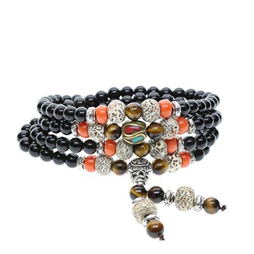 [해외](아모르 윙) AmorWing 108 진주 흑요석 타이거 성월 보리수 행운 수호 파워 스톤 팔찌 네 연 묵주 남성 여성/(Amoruuingu) AmorWing 108 pearl obsidian Tiger Eye Hoshigetsu Bodhi Kago utensil guardian power stone bracelet quadrant men`s wom...