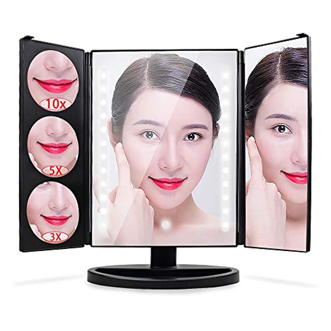 探検憤る台風Konomio 化粧鏡 鏡 化粧ミラー 三面鏡 女優ミラー 拡大鏡 3&5&10倍 卓上 led付き 明るさ調節可能 折りたたみ 180°回転 電池&USB 2way給電