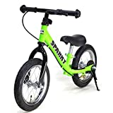 【GREEN】【キックスタンド付き】 ブレーキ付ゴムタイヤ装備 ペダルなし自転車 キッズバイク SPARKY バランスバイク (GREEN)