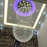クリスタルシャンデリアLEDクリスタルランプダブルボールダブルロングシャンデリアホテルリビングルームランプシンプルなヴィラ階段ランプ110-120V 220V - 240V (色 : 3W tricolor bulb, サイズ : D0.5 H1.5 (5 heads))