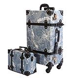 Urecity ABS樹脂+PU革素材 デニムスタイル レトロ スーツケース 1セット - M洗浄 ブルー 1セット