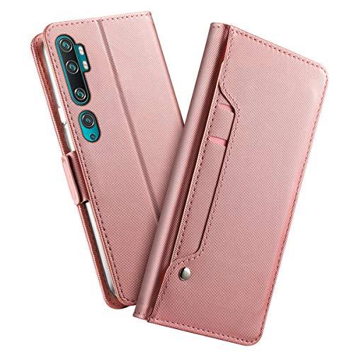財布ケースXiaomi Mi Note 10 Mi CC9 Pro対応、高級PUレザー 人気財布型 カード収納 マグネット スタンド機能 付 き - ローズゴールド