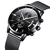 時計メンズウォッチクラシックビジネスブラックステンレスカジュアルラグジュアリークォーツ時計防水マルチ機能ミラノウォッチストラップウォッチ