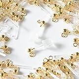 樹脂ピアス ゴールド カン付き【カンの向き:縦】シリコンキャッチセット 10個(5ペア) アクセサリーパーツ 金具 材料 素材