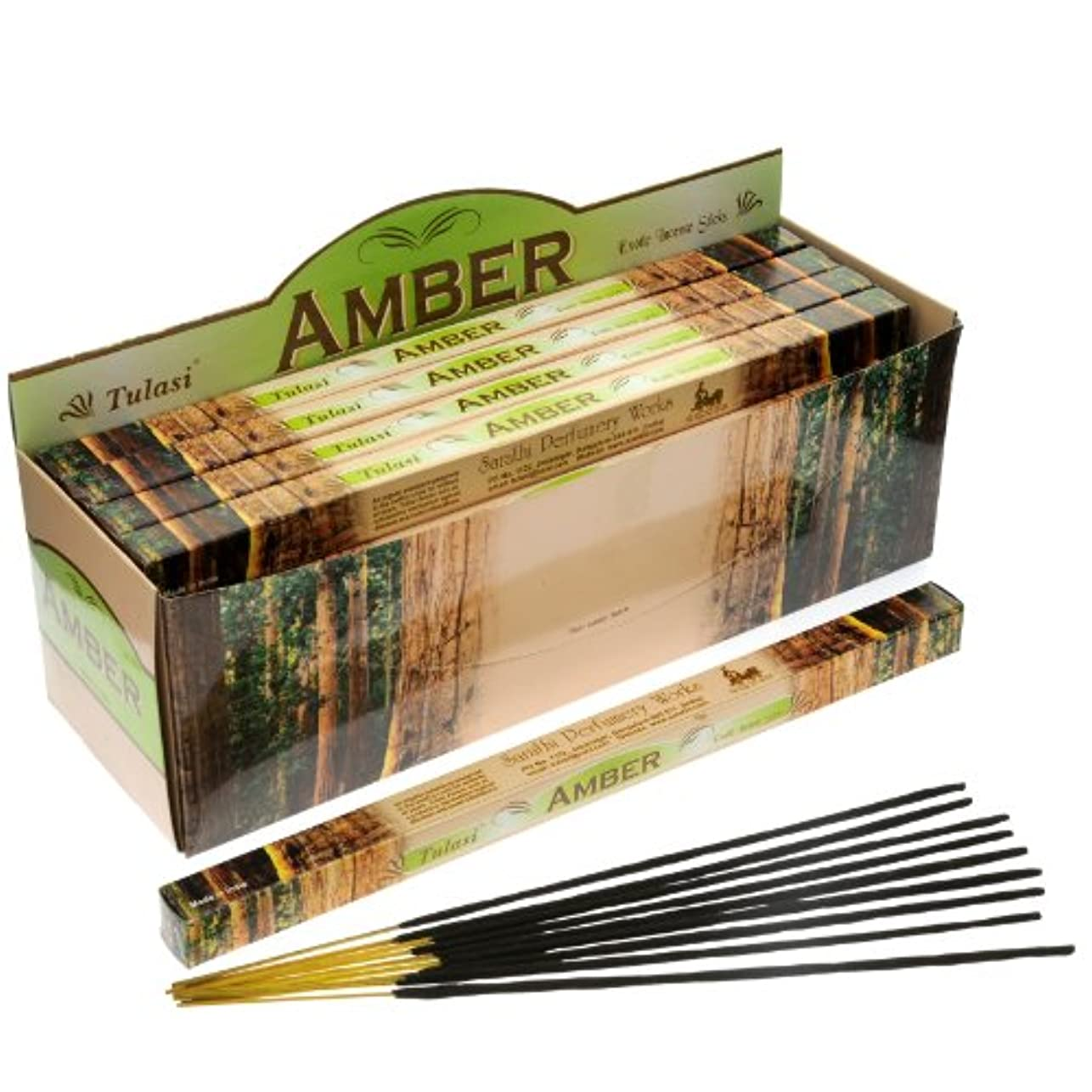 モロニック見かけ上優雅Tulasi Incense Amber 8スティックSquare Pack