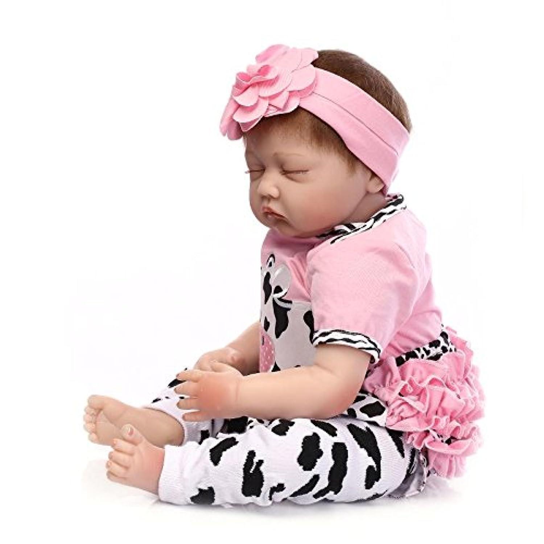 samlooキュートソフトSiliconeビニールLifelikeリアルなSleeping Rebornベビー人形with Magneticダミー娘ピンクギフトGirl収集Lover 22インチ( 55 cm )