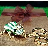 蛙の王子様のキーホルダー アクセサリー プレゼント カエル の 王子様 お守り  開運   縁起  癒し 緑 白 ストライプ