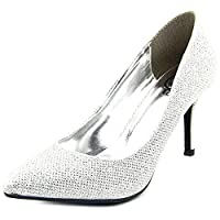 1.4.3. Girl Womens Owanda Pointed Toe Classic Pumps, Silver, Size 10